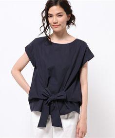 SHIPS for women dress(シップスフォーウィメンドレス)のタイプライターフロントリボン(シャツ/ブラウス)|ネイビー