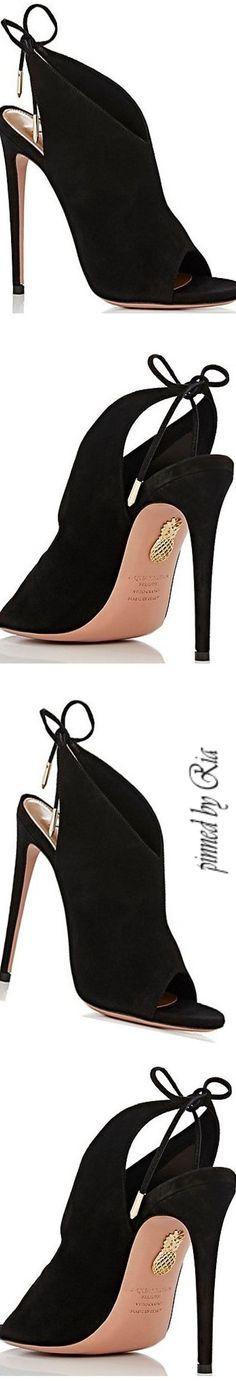 Aquazzura Black Suede Ami Sandals Featuring a Halter-Style Ankle Tie l Ria