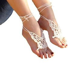 Crochet Barefoot Sandals for Summer: 10 Free Patterns wear with flipflop? Crochet Sandals, Crochet Slippers, Beach Wedding Jewelry, Wedding Shoes, Crochet Designs, Crochet Patterns, Doily Patterns, Dress Patterns, Stitch Patterns