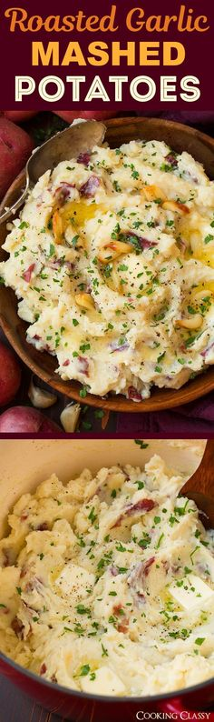 Roasted Garlic Mashed Potatoes - the ultimate comfort food! The roasted garlic makes these unbelievably good! Roasted Garlic Mashed Potatoes - the ultimate comfort food! The roasted garlic makes these unbelievably good! Food Dishes, Potato Dishes, Main Dishes, Side Dishes, Vegetable Recipes, Vegetarian Recipes, Healthy Recipes, Thanksgiving Recipes, Holiday Recipes