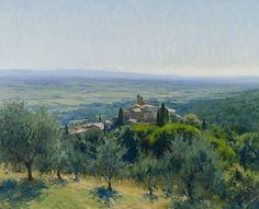 The hilltop village of Scrofiano in Tuscany | From a unique collection of landscape paintings at https://www.1stdibs.com/art/paintings/landscape-paintings/