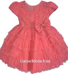 58017643add Galipe Moda Kids · VESTIDOS INFANTIL · Vestido Infantil de Festa Coral com  babados