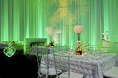 Emerald green is predicted to be the color of the year for Green wedding lighting. Uplighting Wedding, Wedding Lighting, Event Lighting, Lighting Ideas, Green Weddings, Color Of The Year, Receptions, Celebrity Weddings, Emerald Green