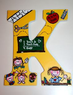 Customized Teacher Hand Painted Letter by me Teacher Door Hangers, Teacher Doors, Teacher Signs, Teacher Name Plates, Letter To Teacher, Painting Wooden Letters, Painted Letters, Hand Painted, Teacher Canvas