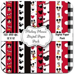 INSTANT DOWNLOAD - Mickey Mouse Paper Pack - 12 Digital Papers - 12 X 12 - 300 dpi - Red - White, & Black. $3.00, via Etsy.