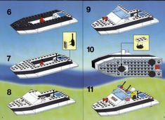 LEGO 6344 Police Plane and Speed Boat instructions displayed page by page to help you build this amazing LEGO Police set Lego Boot, Police Police, Classic Lego, Lego Vehicles, Lego System, Lego Design, Lego Projects, Lego Instructions, Speed Boats