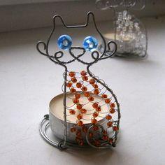 Zrzavý modroočko - svícen drátovaný svícen svícínek dekora