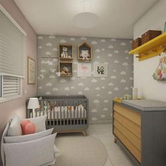 Explore the Baby Nursery Room Design Ideas and Inspiration at The Architecture Design. Visit for more images and ideas for decorating your children's room. Small Baby Nursery, Baby Boy Rooms, Baby Bedroom, Baby Room Decor, Nursery Room, Nursery Ideas, Plant Nursery, Nursery Themes, Bedroom Ideas