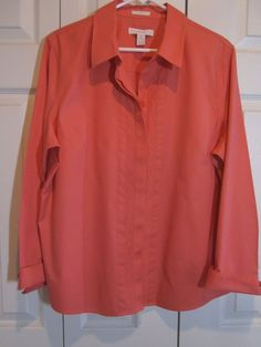 NWOT Chico's No-Iron 100% Combed Cotton Blouse Shirt Orange~ Sz 3- long sleeves #Chicos #Blouse #Casual