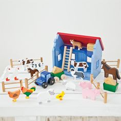 Wooden Farm Playset - Activity Toys - Toddler - Gifts & Toys