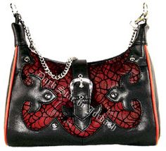Dark Star Red Gothic Cobweb Net/PVC Purse [DS/BG/5538R] - $49.99 : Mystic Crypt, the most unique, hard to find items at ghoulishly great prices!