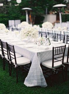 Black Chiavari Chairs with White Pintuck Linen