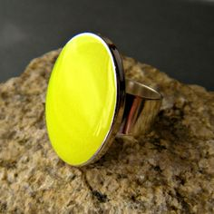 Neon Yellow Oval Statement Ring, Resin, Adjustable, Fluorescent》♡♡♡