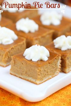 easy to make and with the right amount of pumpkin flavor, these pumpkin cheesecake bars taste exactly like a cheesecake that crossed paths with a pumpkin pie – the best of both worlds! Pumpkin Cheesecake Bars, Pumpkin Pie Bars, Pumpkin Dessert, Pumpkin Squares, Pumpkin Pumpkin, Pumpkin Spice, Cheescake Bars, Pumpkin Foods, Vegan Pumpkin