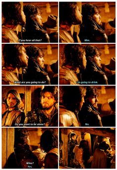 The Musketeers 2x04 - This hurt me but also made me love them even better. Especially when you read the book and find that D'Artagnan liked Athos the best of the three. Such good friends!