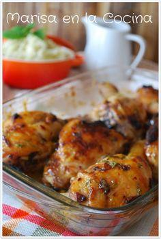 Marisa en la Cocina: Pollo al Horno en Adobo de Mostaza y Miel con Puré de Patata y Cebollino