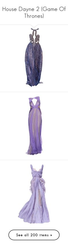 """House Dayne 2 (Game Of Thrones)"" by doratemplam ❤ liked on Polyvore featuring dresses, gowns, long dresses, edited, purple, purple gown, blue gown, armani prive dresses, blue evening dresses and 13. dresses."