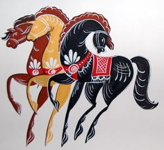 "Folk Gorodets painting from Russia. Three horses (""Troika""). #art #folk #painting #Russian"