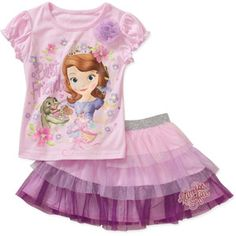 Disney Sofia the First Baby Toddler Girl Tee and Colorblock Skirt Outfit Set