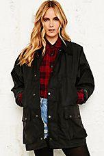Vintage Renewal Oversized Wax Jacket in Black
