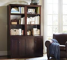 Logan Modular Bookcase with Doors #potterybarn $1,759 one for each side of fireplace 48""