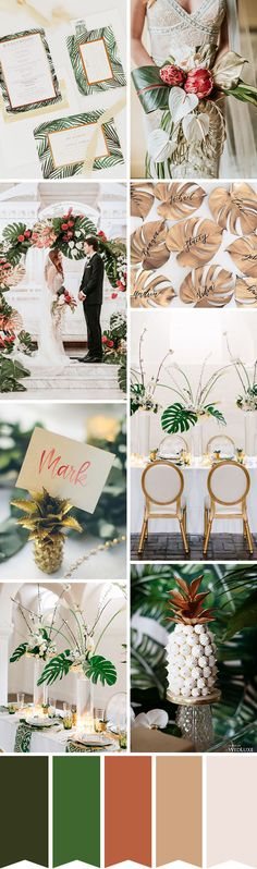 A glamorous twist on a modern trend? Thats exactly what we are sharing today with this Tropical Luxe Wedding Inspiration Luxe Wedding, Dream Wedding, French Wedding, Wedding Stuff, Wedding Dress, Wedding Color Schemes, Wedding Colors, Wedding Themes, Wedding Decorations