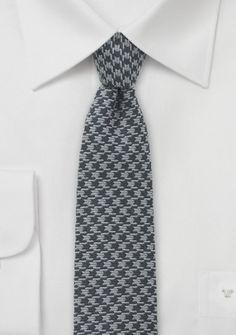 Krawatte Wolle dunkelgrau silbergrau