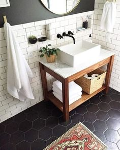 Stupefying Useful Tips: Natural Home Decor Ideas Master Bath natural home decor bathroom.Natural Home Decor Wood Tree Branches natural home decor living room interior design.Natural Home Decor Diy Cleaning Tips. Upstairs Bathrooms, Downstairs Bathroom, Bathroom Renos, Laundry In Bathroom, White Bathroom, Washroom, Bathroom Ideas, Wall Mount Bathroom Faucet, Boy Bathroom