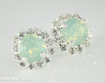 mint opal earrings,mint crystal stud earrings, mint bridesmaid earrings,mint stud earrings,swarovski earrings, mint jewelry, mint earrings