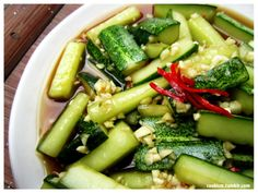We all know that cucumbers are cool, in every sense of the word, and this dish serves to highlight that. Tangy, refreshing and irresistible, this is one green gem that is sure to whet your appetite. Cucumbers have never tasted this good!