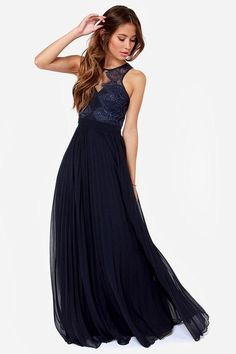 Only the luckiest of girls will get to wear the Bariano Luciana Navy Blue Lace Maxi Dress with it...