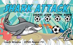 Attack-Shark-46000  digitally printed vinyl soccer sports team banner. Made in the USA and shipped fast by BannersUSA. www.bannersusa.com
