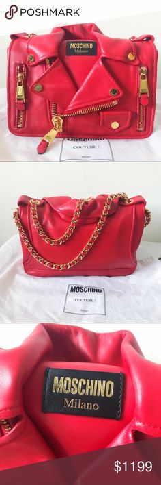 ❤️Moschino shoulder leather biker jacket bag Moschino shoulder leather biker jacket bag (everything good as brand new) with dusty bag 💯Authentic! Moschino Bags Shoulder Bags