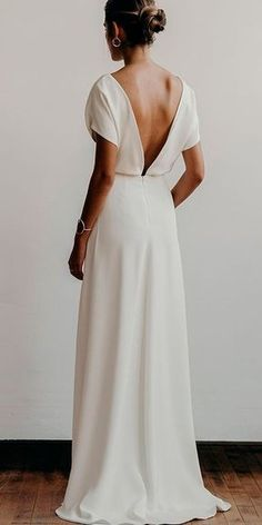24 Awesome Simple Wedding Dresses For Cute Brides ❤️ simple wedding dresses straight low back with sleeves modern lena medoyeff bridal ❤️ Full gallery: https://weddingdressesguide.com/simple-wedding-dresses/ #bride #wedding #bridalgown