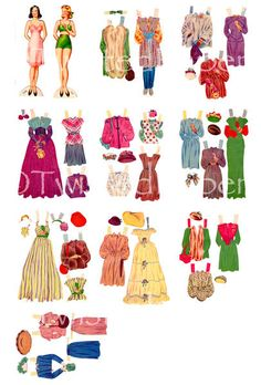 10 Pages of 1940's PAPER DOLLS, Actual Size, 20 Outfits with Accessories and 2 Different Paper Dolls, Digital & Printable Collection 2 on Etsy, $5.59 AUD