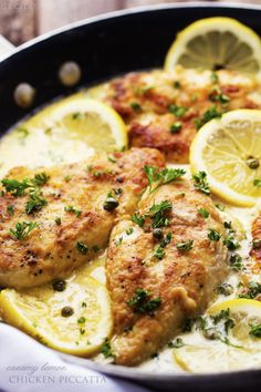 creamy_lemon_chicken_piccatta. Made with chicken cut into strips, no flour/breading, water and seasoning instead of chx stock and no capers. Easy and tasty! Also used the zest of one of the lemons. Very bright fresh clean taste.