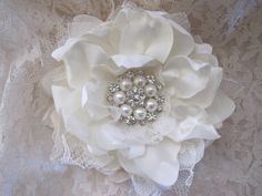 Ivory Satin Chiffon and Lace Bridal Flower Hair by theraggedyrose, $32.95