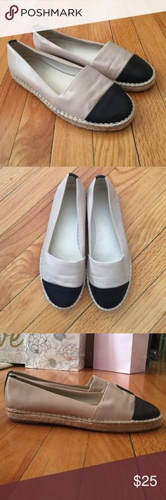 Aldo slip-ons Only worn once - ALDO tan and black slip on shoes with woven soles. Very comfy - a Chanel knock-off shoe. SUPER CUTE! Aldo Shoes Flats & Loafers