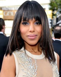 Kerry Washington hair & makeup look from the red carpet of the Golden Globes. Sleek Hairstyles, Down Hairstyles, Layered Hairstyles, Kerry Washington Hair, Runway Hair, Celebrity Beauty, Celebrity Style, Hair Day, Night Hair