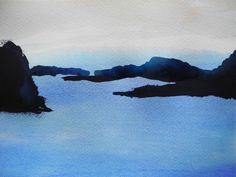 Of islands from an island III, 7.5X11 watercolour, by Edith Dora Rey