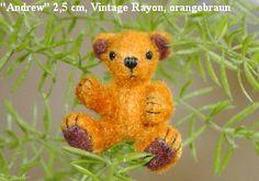 "Shirley Scheibehenne  - ""Andrew"" 2.5 cm (a little under 1"") teddy bear made of orange vintage rayon"