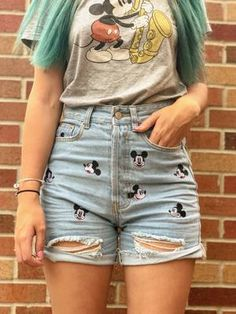 High Waisted Mickey Embroidered Short – MagicaLifestyle