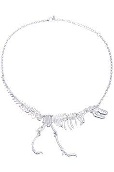 ROMWE | Dinosaur Skeleton Pendant Silver Necklace, The Latest Street Fashion