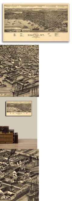 1879 Olympia WA Vintage Old Panoramic City Map 20x30