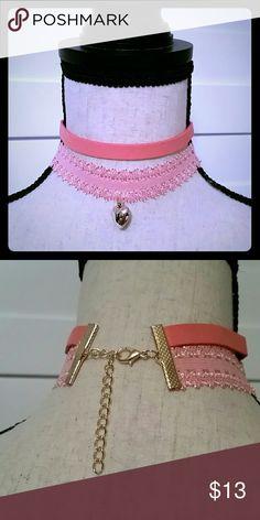 Heart Shape Paisley Necklace Choker Super cute heart shape paisley necklace choker. Color: Pink Jewelry Necklaces