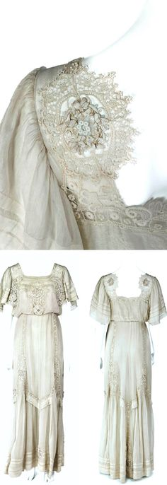 Evening dress, no date. Ankle length with truncated waist and wide shirred short sleeves. Tissue-thin white silk. Insets of lace & embroidery. Hallwyl Museum via Wikimedia Commons