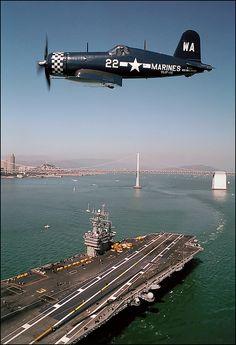 FG-1D Corsair above the aircraft carrier CVN-70, Carl Vinson. | by Ernie Visk BFD