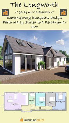 Small House Design, Modern House Design, Contemporary Bedroom, Open Plan, Master Bathroom, House Plans, Floor Plans, Cottage, Exterior