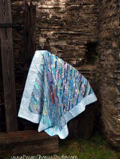 Scrappy Quilt entry for Bloggers Quilt Festival 2015: Blue string quilt 'August Rain'. © Stephanie Boon, 2014 www.DawnChorusStudio.com