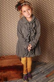 Mack and Co. - Girls Charcoal Ruffle Coat